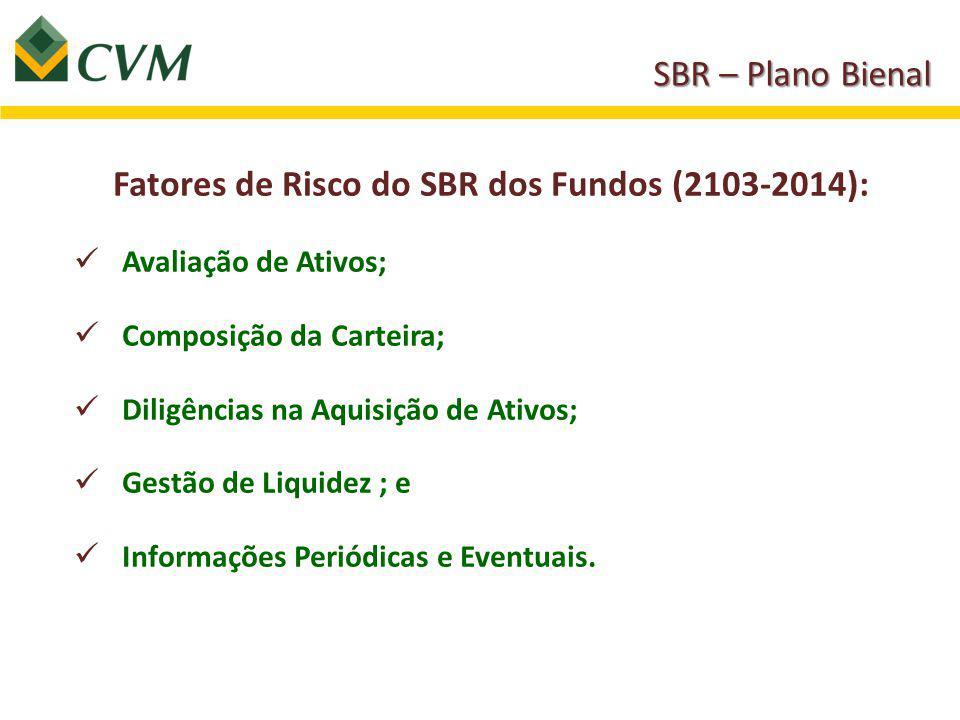 Fatores de Risco do SBR dos Fundos (2103-2014): Avaliação de Ativos; Composição da Carteira; Diligências na Aquisição de Ativos; Gestão de Liquidez ; e Informações Periódicas e Eventuais.