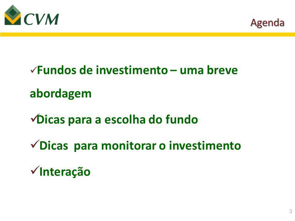 Agenda 3 Fundos de investimento – uma breve abordagem Dicas para a escolha do fundo Dicas para monitorar o investimento Interação
