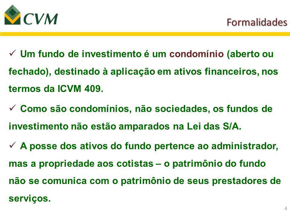 Formalidades Formalidades 4 Um fundo de investimento é um condomínio (aberto ou fechado), destinado à aplicação em ativos financeiros, nos termos da ICVM 409.