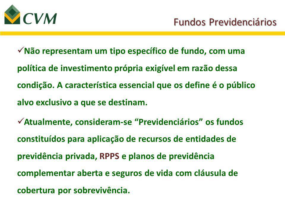 Não representam um tipo específico de fundo, com uma política de investimento própria exigível em razão dessa condição.