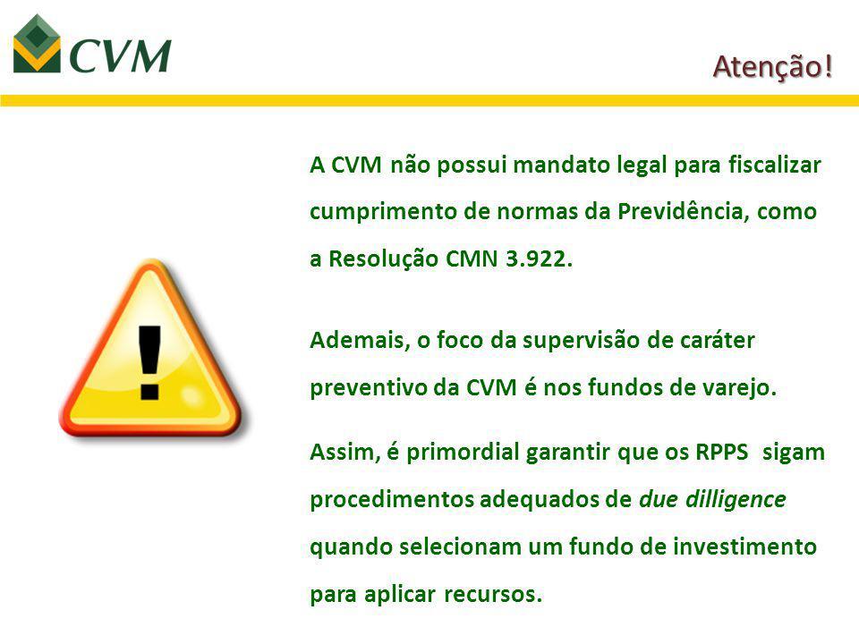 A CVM não possui mandato legal para fiscalizar cumprimento de normas da Previdência, como a Resolução CMN 3.922.