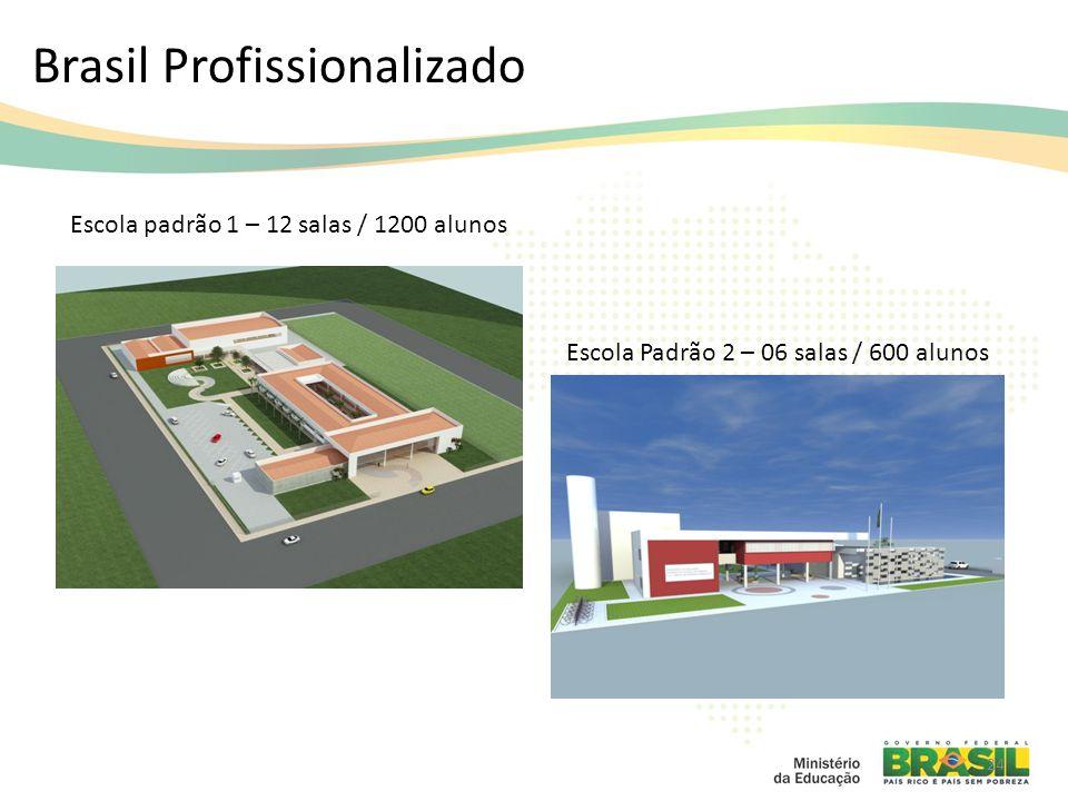Brasil Profissionalizado 24 Escola padrão 1 – 12 salas / 1200 alunos Escola Padrão 2 – 06 salas / 600 alunos