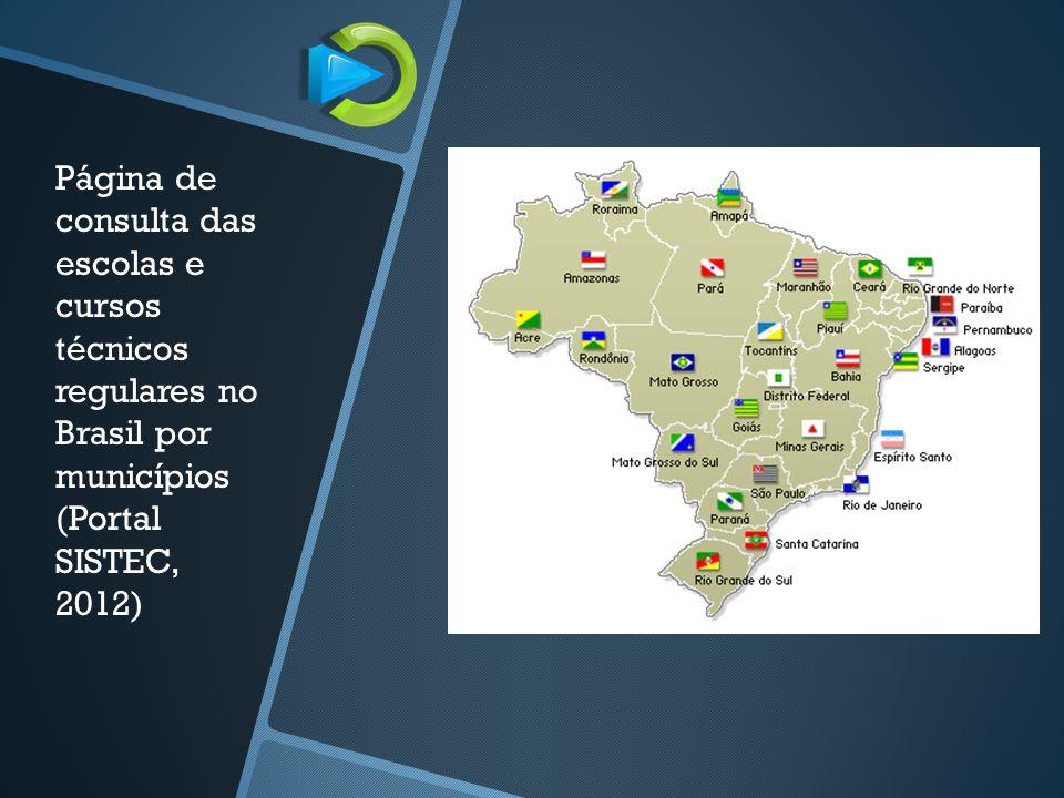Página de consulta das escolas e cursos técnicos regulares no Brasil por municípios (Portal SISTEC, 2012)