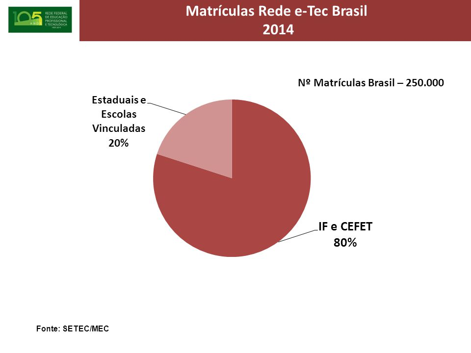 Matrículas Rede e-Tec Brasil 2014 Fonte: SETEC/MEC Nº Matrículas Brasil – 250.000