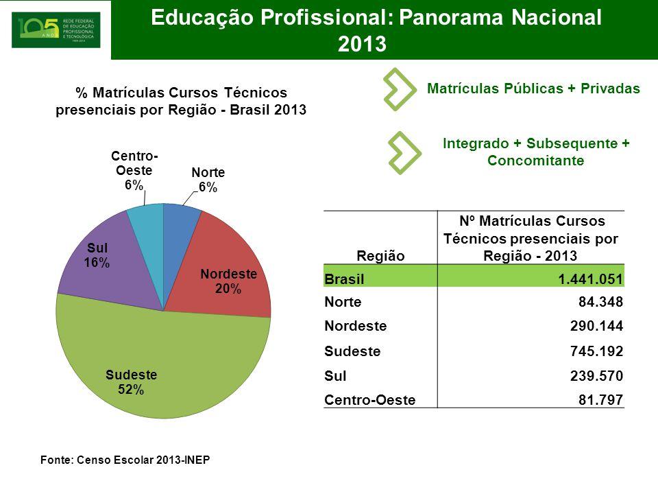 Educação Profissional: Panorama Nacional 2013 Fonte: Censo Escolar 2013-INEP Região Nº Matrículas Cursos Técnicos presenciais por Região - 2013 Brasil1.441.051 Norte84.348 Nordeste290.144 Sudeste745.192 Sul239.570 Centro-Oeste81.797 Matrículas Públicas + Privadas Integrado + Subsequente + Concomitante