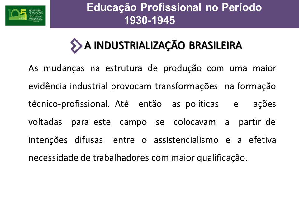 A INDUSTRIALIZAÇÃO BRASILEIRA As mudanças na estrutura de produção com uma maior evidência industrial provocam transformações na formação técnico-profissional.