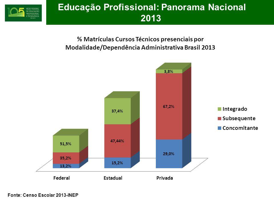 % Matrículas Cursos Técnicos presenciais por Modalidade/Dependência Administrativa Brasil 2013 Fonte: Censo Escolar 2013-INEP Educação Profissional: Panorama Nacional 2013