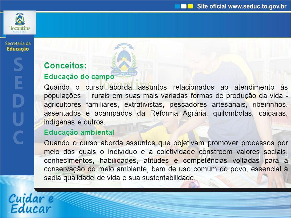 Conceitos: Educação do campo Quando o curso aborda assuntos relacionados ao atendimento às populações rurais em suas mais variadas formas de produção