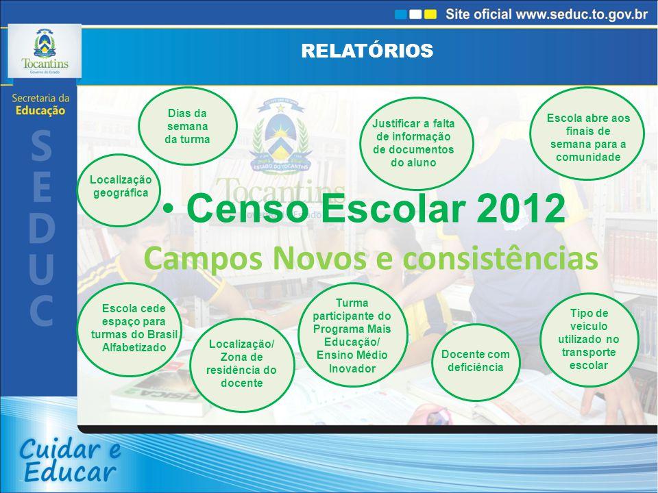 RELATÓRIOS Censo Escolar 2012 Campos Novos e consistências Dias da semana da turma Localização geográfica Escola cede espaço para turmas do Brasil Alf