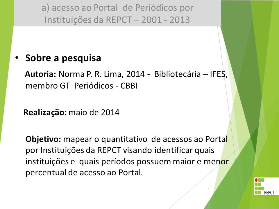 Sobre a pesquisa Autoria: Norma P. R.