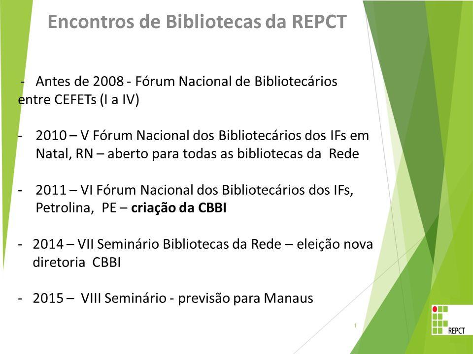 Encontros de Bibliotecas da REPCT - Antes de 2008 - Fórum Nacional de Bibliotecários entre CEFETs (I a IV) -2010 – V Fórum Nacional dos Bibliotecários dos IFs em Natal, RN – aberto para todas as bibliotecas da Rede -2011 – VI Fórum Nacional dos Bibliotecários dos IFs, Petrolina, PE – criação da CBBI -2014 – VII Seminário Bibliotecas da Rede – eleição nova diretoria CBBI -2015 – VIII Seminário - previsão para Manaus