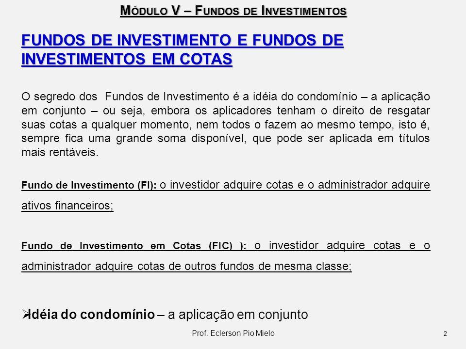 M ÓDULO V – F UNDOS DE I NVESTIMENTOS FUNDOS DE INVESTIMENTO E FUNDOS DE INVESTIMENTOS EM COTAS O segredo dos Fundos de Investimento é a idéia do cond