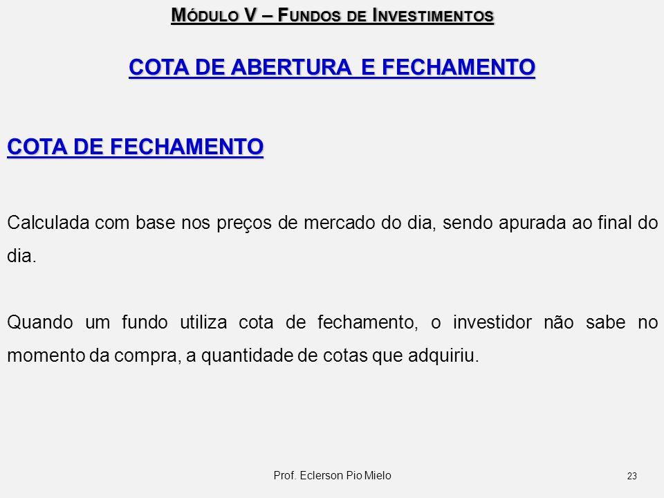 M ÓDULO V – F UNDOS DE I NVESTIMENTOS COTA DE ABERTURA E FECHAMENTO COTA DE FECHAMENTO Calculada com base nos preços de mercado do dia, sendo apurada