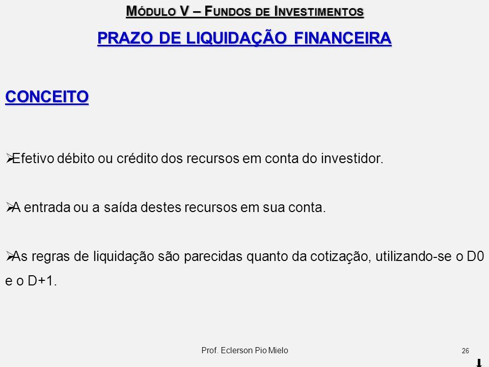 M ÓDULO V – F UNDOS DE I NVESTIMENTOS PRAZO DE LIQUIDAÇÃO FINANCEIRA CONCEITO  Efetivo débito ou crédito dos recursos em conta do investidor.  A ent