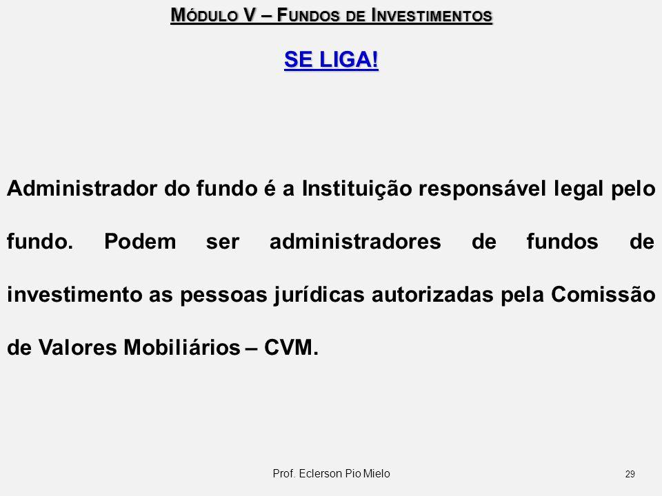 M ÓDULO V – F UNDOS DE I NVESTIMENTOS SE LIGA! Administrador do fundo é a Instituição responsável legal pelo fundo. Podem ser administradores de fundo