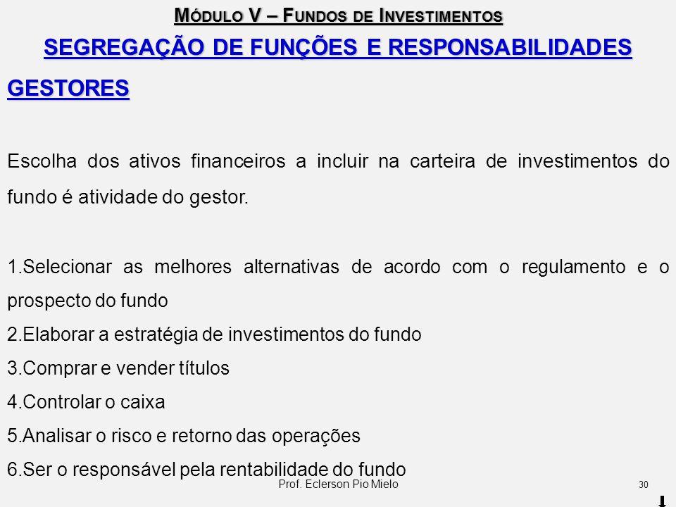M ÓDULO V – F UNDOS DE I NVESTIMENTOS SEGREGAÇÃO DE FUNÇÕES E RESPONSABILIDADES GESTORES Escolha dos ativos financeiros a incluir na carteira de inves