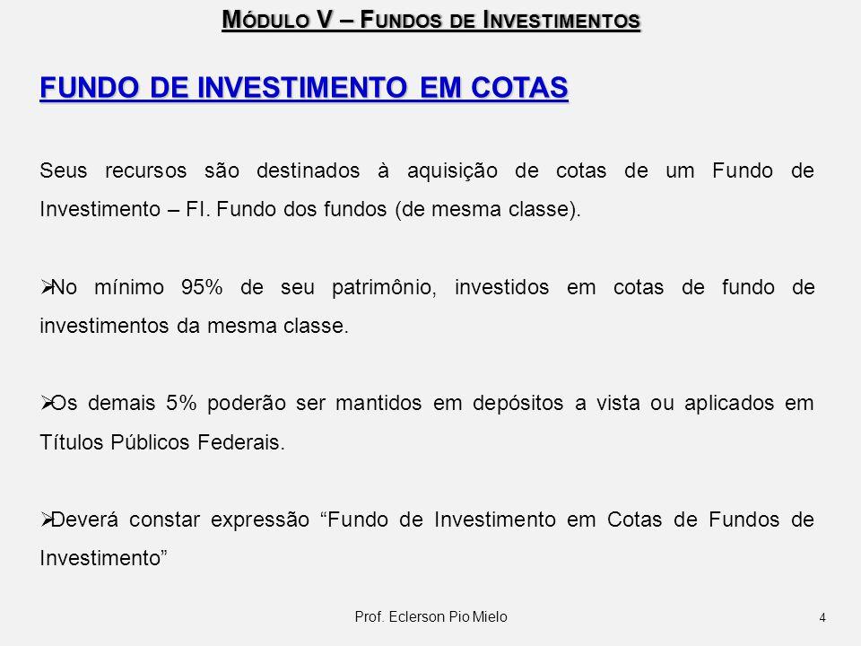 M ÓDULO V – F UNDOS DE I NVESTIMENTOS FUNDO DE INVESTIMENTO EM COTAS Seus recursos são destinados à aquisição de cotas de um Fundo de Investimento – F