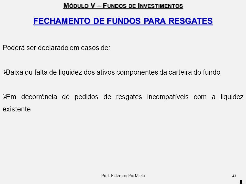 M ÓDULO V – F UNDOS DE I NVESTIMENTOS FECHAMENTO DE FUNDOS PARA RESGATES Poderá ser declarado em casos de:  Baixa ou falta de liquidez dos ativos com