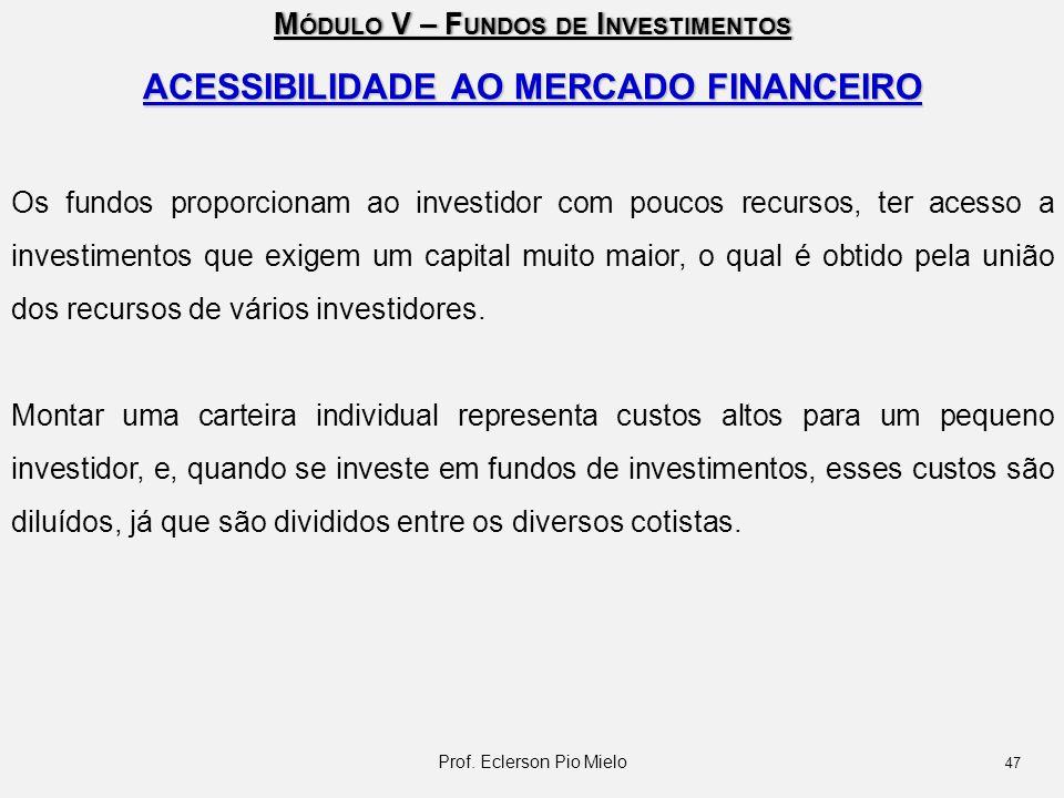 M ÓDULO V – F UNDOS DE I NVESTIMENTOS ACESSIBILIDADE AO MERCADO FINANCEIRO Os fundos proporcionam ao investidor com poucos recursos, ter acesso a inve