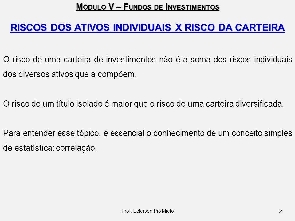 M ÓDULO V – F UNDOS DE I NVESTIMENTOS RISCOS DOS ATIVOS INDIVIDUAIS X RISCO DA CARTEIRA O risco de uma carteira de investimentos não é a soma dos risc