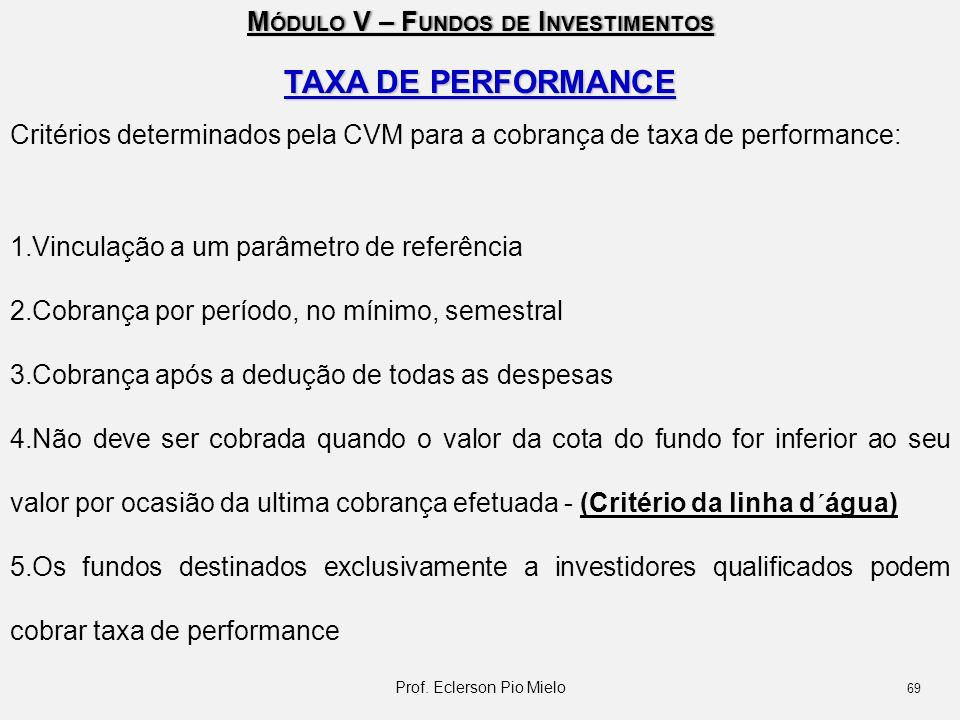 M ÓDULO V – F UNDOS DE I NVESTIMENTOS TAXA DE PERFORMANCE Critérios determinados pela CVM para a cobrança de taxa de performance: 1.Vinculação a um pa