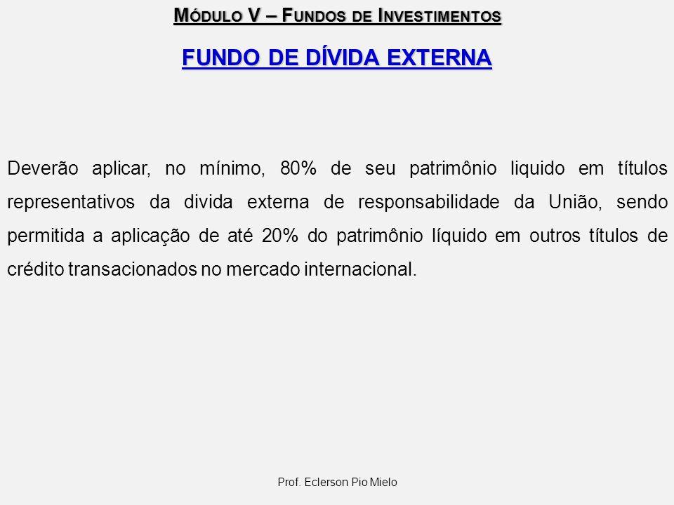 M ÓDULO V – F UNDOS DE I NVESTIMENTOS FUNDO DE DÍVIDA EXTERNA Deverão aplicar, no mínimo, 80% de seu patrimônio liquido em títulos representativos da