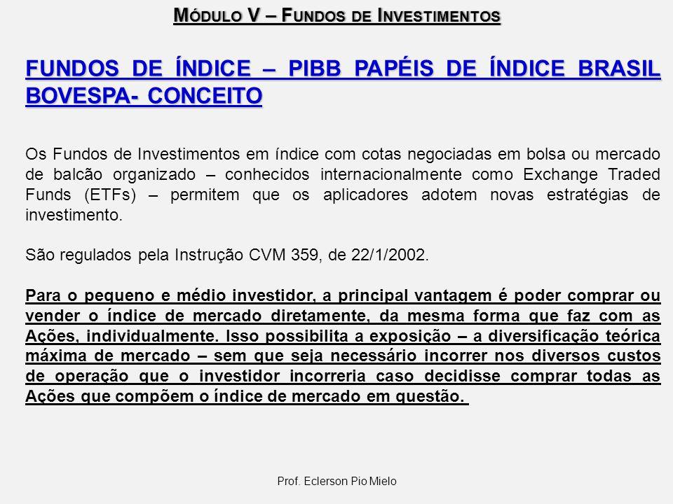 M ÓDULO V – F UNDOS DE I NVESTIMENTOS Prof. Eclerson Pio Mielo FUNDOS DE ÍNDICE – PIBB PAPÉIS DE ÍNDICE BRASIL BOVESPA- CONCEITO Os Fundos de Investim