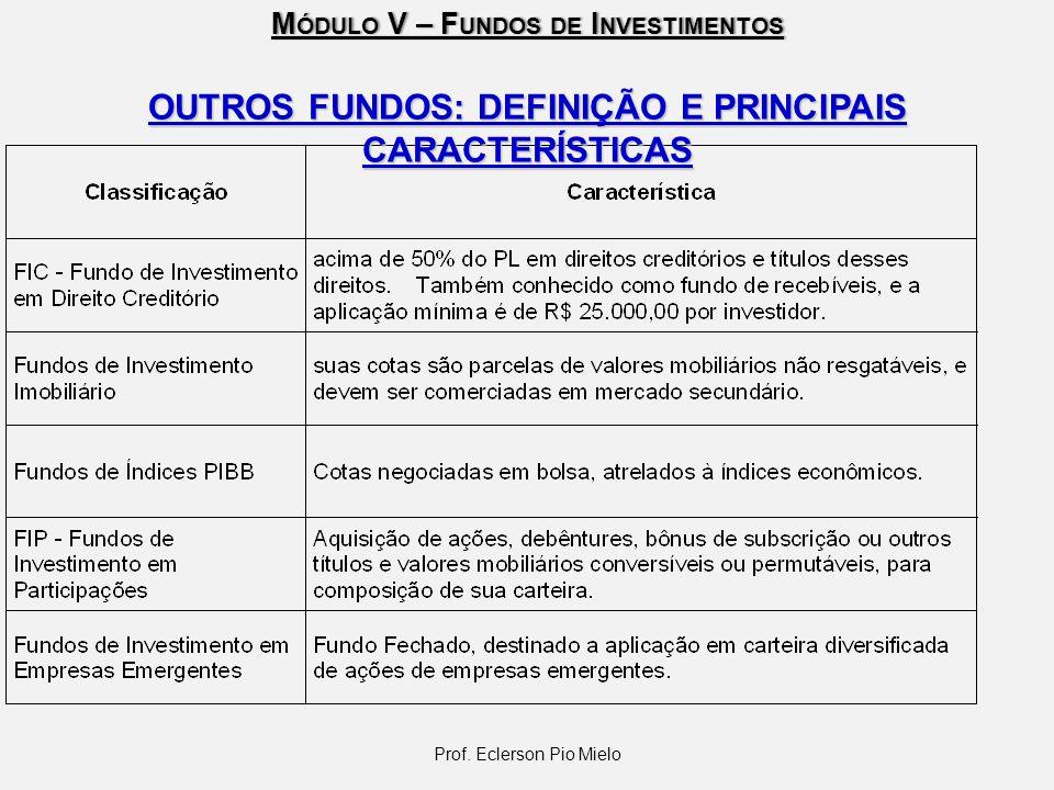 M ÓDULO V – F UNDOS DE I NVESTIMENTOS Prof. Eclerson Pio Mielo OUTROS FUNDOS: DEFINIÇÃO E PRINCIPAIS CARACTERÍSTICAS