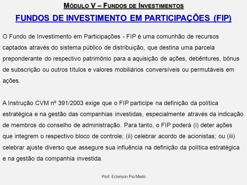 M ÓDULO V – F UNDOS DE I NVESTIMENTOS Prof. Eclerson Pio Mielo FUNDOS DE INVESTIMENTO EM PARTICIPAÇÕES (FIP) O Fundo de Investimento em Participações