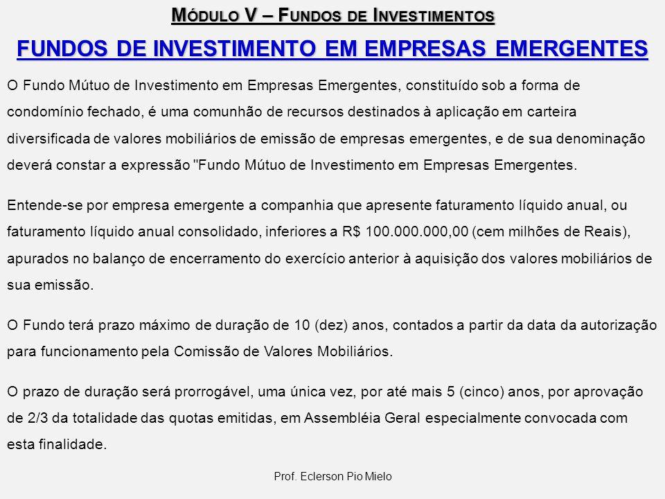 M ÓDULO V – F UNDOS DE I NVESTIMENTOS Prof. Eclerson Pio Mielo FUNDOS DE INVESTIMENTO EM EMPRESAS EMERGENTES O Fundo Mútuo de Investimento em Empresas