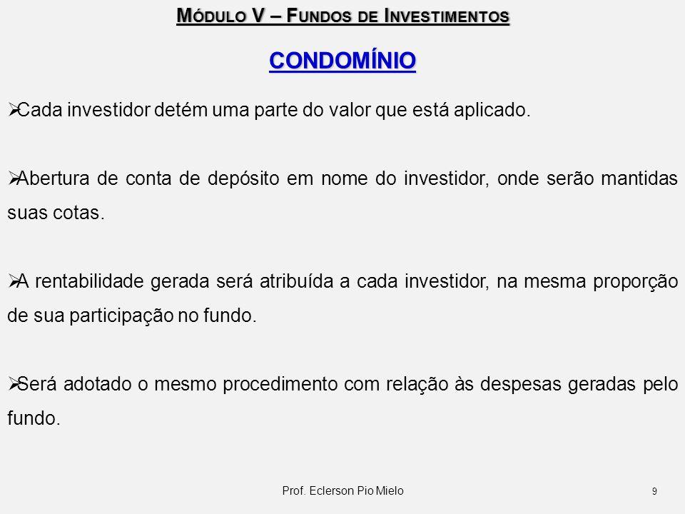 M ÓDULO V – F UNDOS DE I NVESTIMENTOS CONDOMÍNIO  Cada investidor detém uma parte do valor que está aplicado.  Abertura de conta de depósito em nome