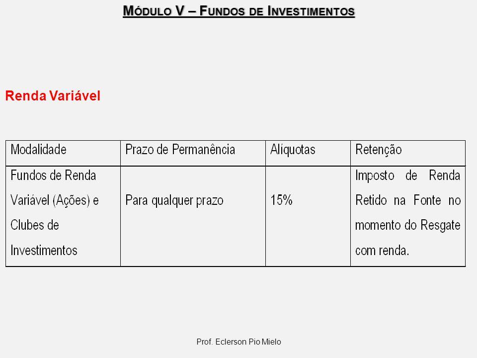 M ÓDULO V – F UNDOS DE I NVESTIMENTOS Prof. Eclerson Pio Mielo Renda Variável