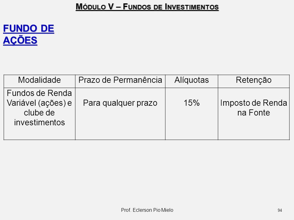 M ÓDULO V – F UNDOS DE I NVESTIMENTOS FUNDO DE AÇÕES ModalidadePrazo de PermanênciaAlíquotasRetenção Fundos de Renda Variável (ações) e clube de inves