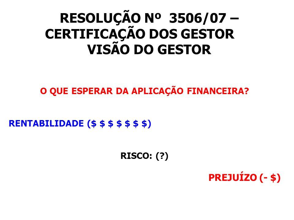 RESOLUÇÃO Nº 3506/07 – CERTIFICAÇÃO DOS GESTOR VISÃO DO GESTOR O QUE ESPERAR DA APLICAÇÃO FINANCEIRA.