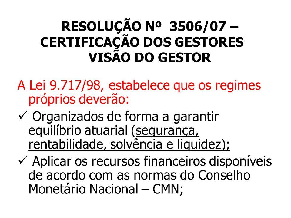 RESOLUÇÃO Nº 3506/07 – CERTIFICAÇÃO DOS GESTORES VISÃO DO GESTOR RESOLUÇÃO BACEN 3506/07 PRAZO ENQUADRAMENTO: Dez/2008.