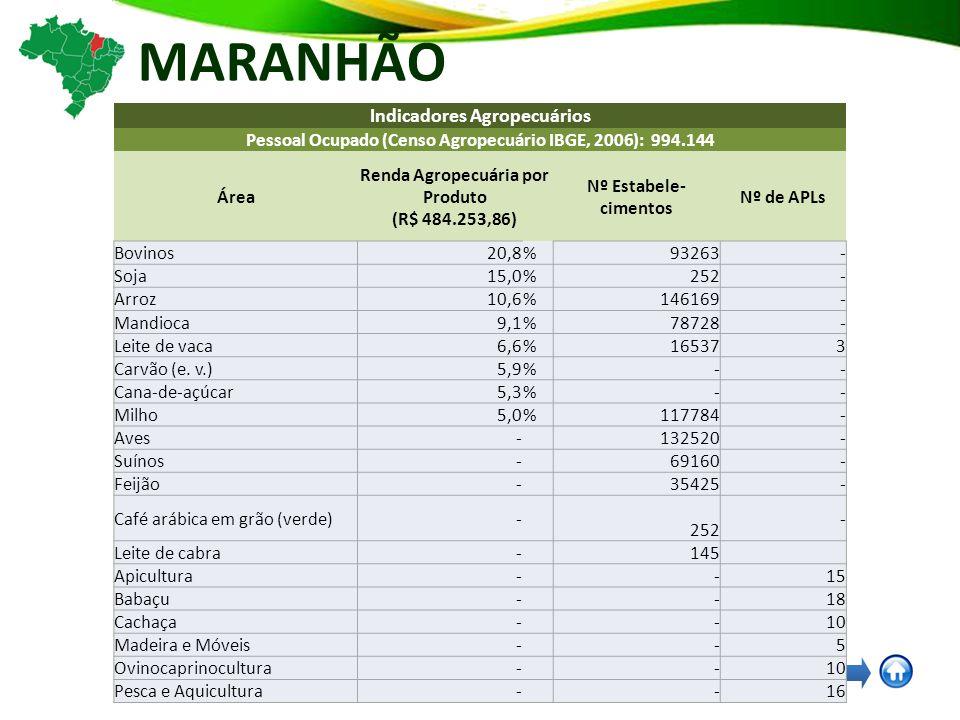 MARANHÃO Indicadores Agropecuários Pessoal Ocupado (Censo Agropecuário IBGE, 2006): 994.144 Área Renda Agropecuária por Produto (R$ 484.253,86) Nº Estabele- cimentos Nº de APLs Bovinos20,8%93263- Soja15,0%252- Arroz10,6%146169- Mandioca9,1%78728- Leite de vaca6,6%165373 Carvão (e.