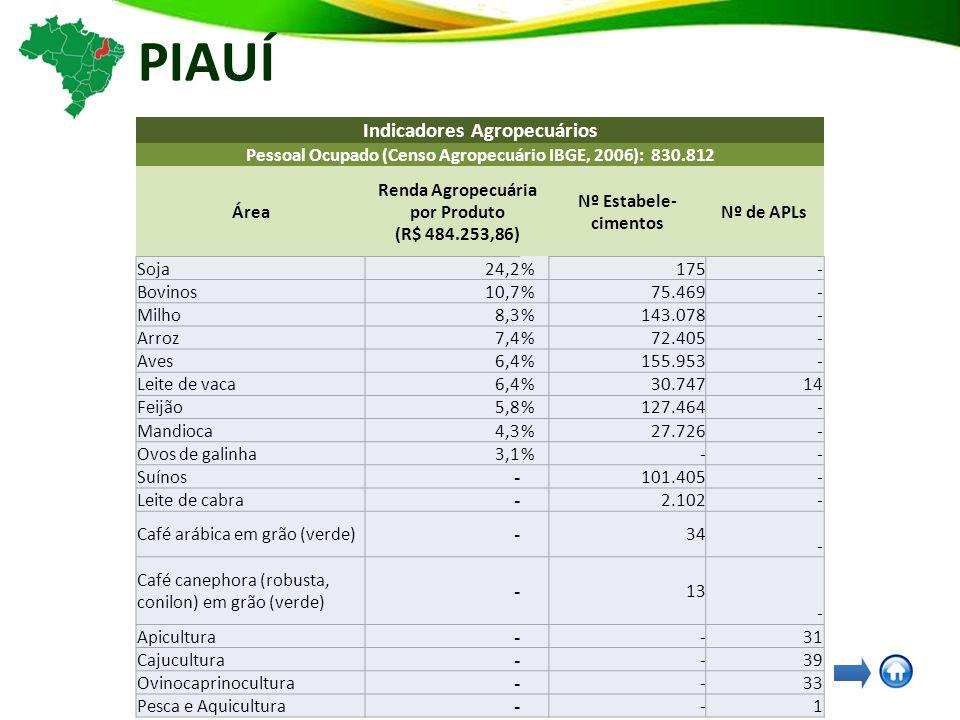 PIAUÍ Indicadores Agropecuários Pessoal Ocupado (Censo Agropecuário IBGE, 2006): 830.812 Área Renda Agropecuária por Produto (R$ 484.253,86) Nº Estabele- cimentos Nº de APLs Soja24,2%175- Bovinos10,7%75.469- Milho8,3%143.078- Arroz7,4%72.405- Aves6,4%155.953- Leite de vaca6,4%30.74714 Feijão5,8%127.464- Mandioca4,3%27.726- Ovos de galinha3,1%-- Suínos - 101.405- Leite de cabra - 2.102- Café arábica em grão (verde) - 34 - Café canephora (robusta, conilon) em grão (verde) - 13 - Apicultura - -31 Cajucultura - -39 Ovinocaprinocultura - -33 Pesca e Aquicultura - -1