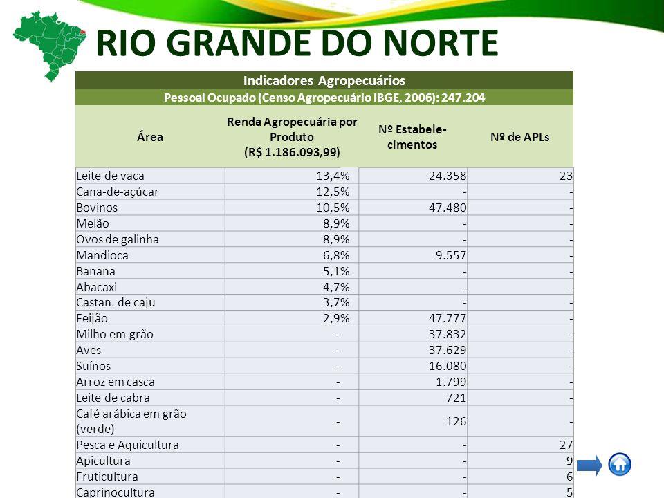 RIO GRANDE DO NORTE Indicadores Agropecuários Pessoal Ocupado (Censo Agropecuário IBGE, 2006): 247.204 Área Renda Agropecuária por Produto (R$ 1.186.093,99) Nº Estabele- cimentos Nº de APLs Leite de vaca13,4% 24.358 23 Cana-de-açúcar12,5%- - Bovinos10,5% 47.480 - Melão8,9% - - Ovos de galinha8,9% - - Mandioca6,8% 9.557 - Banana5,1% - - Abacaxi4,7% - - Castan.