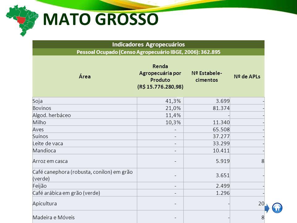 MATO GROSSO Indicadores Agropecuários Pessoal Ocupado (Censo Agropecuário IBGE, 2006): 362.895 Área Renda Agropecuária por Produto (R$ 15.776.280,98) Nº Estabele- cimentos Nº de APLs Soja41,3% 3.699 - Bovinos21,0% 81.374 - Algod.