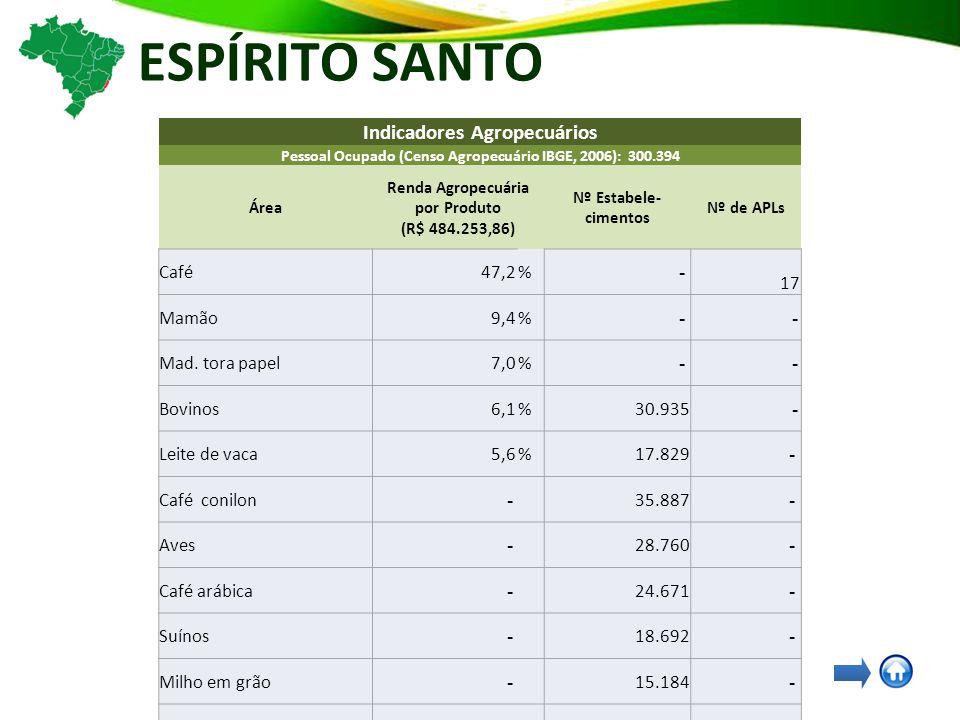 ESPÍRITO SANTO Indicadores Agropecuários Pessoal Ocupado (Censo Agropecuário IBGE, 2006): 300.394 Área Renda Agropecuária por Produto (R$ 484.253,86) Nº Estabele- cimentos Nº de APLs Café47,2% - 17 Mamão9,4% - - Mad.