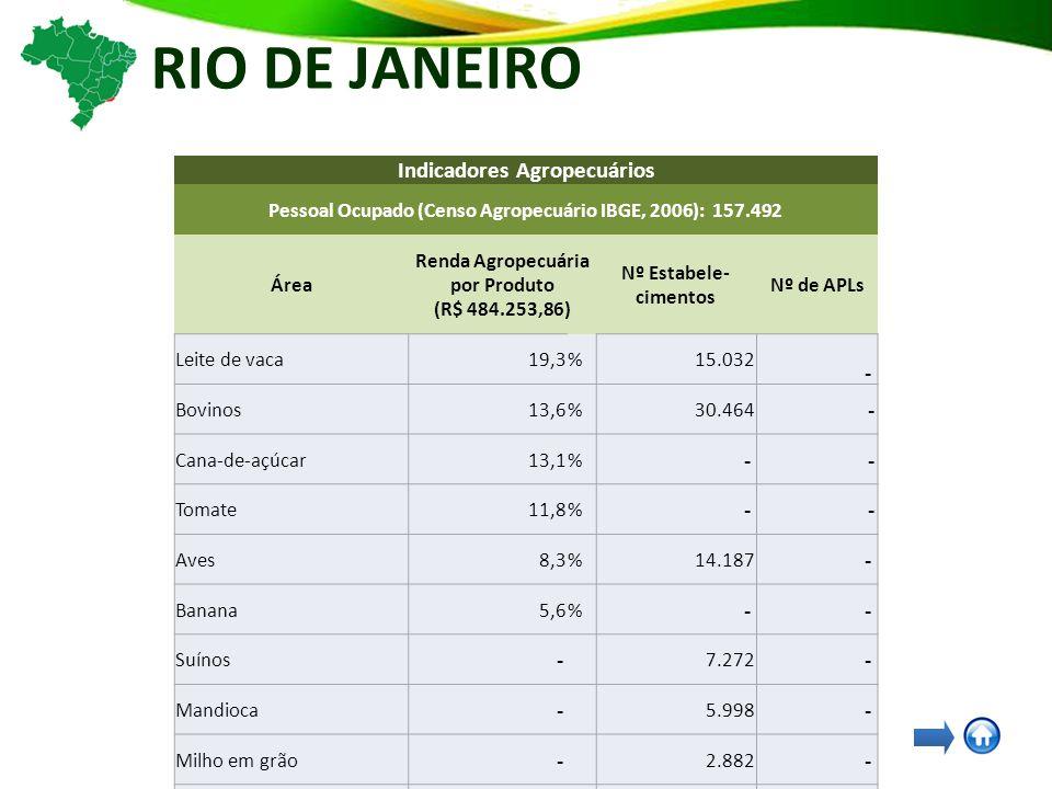 RIO DE JANEIRO Indicadores Agropecuários Pessoal Ocupado (Censo Agropecuário IBGE, 2006): 157.492 Área Renda Agropecuária por Produto (R$ 484.253,86) Nº Estabele- cimentos Nº de APLs Leite de vaca19,3%15.032 - Bovinos13,6%30.464 - Cana-de-açúcar13,1% - - Tomate11,8% - - Aves8,3%14.187 - Banana5,6% - - Suínos - 7.272 - Mandioca - 5.998 - Milho em grão - 2.882 - Café - 2.336 - Feijão - 2.322 - Arroz em casca - 582 -