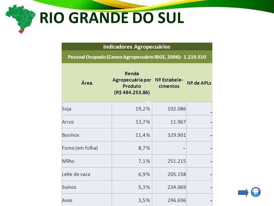 RIO GRANDE DO SUL Indicadores Agropecuários Pessoal Ocupado (Censo Agropecuário IBGE, 2006): 1.219.510 Área Renda Agropecuária por Produto (R$ 484.253,86) Nº Estabele- cimentos Nº de APLs Soja19,2%102.086 - Arroz13,7%11.967 - Bovinos11,4%329.901 - Fumo (em folha)8,7% - - Milho7,1%251.215 - Leite de vaca6,9%205.158 - Suínos5,3%234.069 - Aves3,5%296.696 - Mandioca - 138.193 - Feijão-preto - 118.684 - Trigo - 19.766 - Vitivinicultura - - 34 Carne - - 20