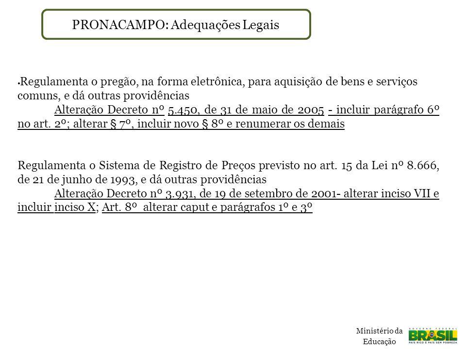 PRONACAMPO: Adequações Legais  Regulamenta o pregão, na forma eletrônica, para aquisição de bens e serviços comuns, e dá outras providências Alteração Decreto nº 5.450, de 31 de maio de 2005 - incluir parágrafo 6º no art.