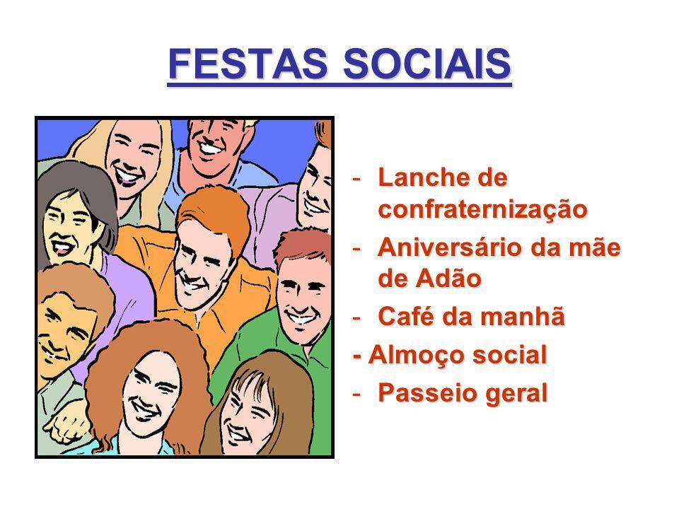 FESTAS SOCIAIS -Lanche de confraternização -Aniversário da mãe de Adão -Café da manhã - Almoço social -Passeio geral