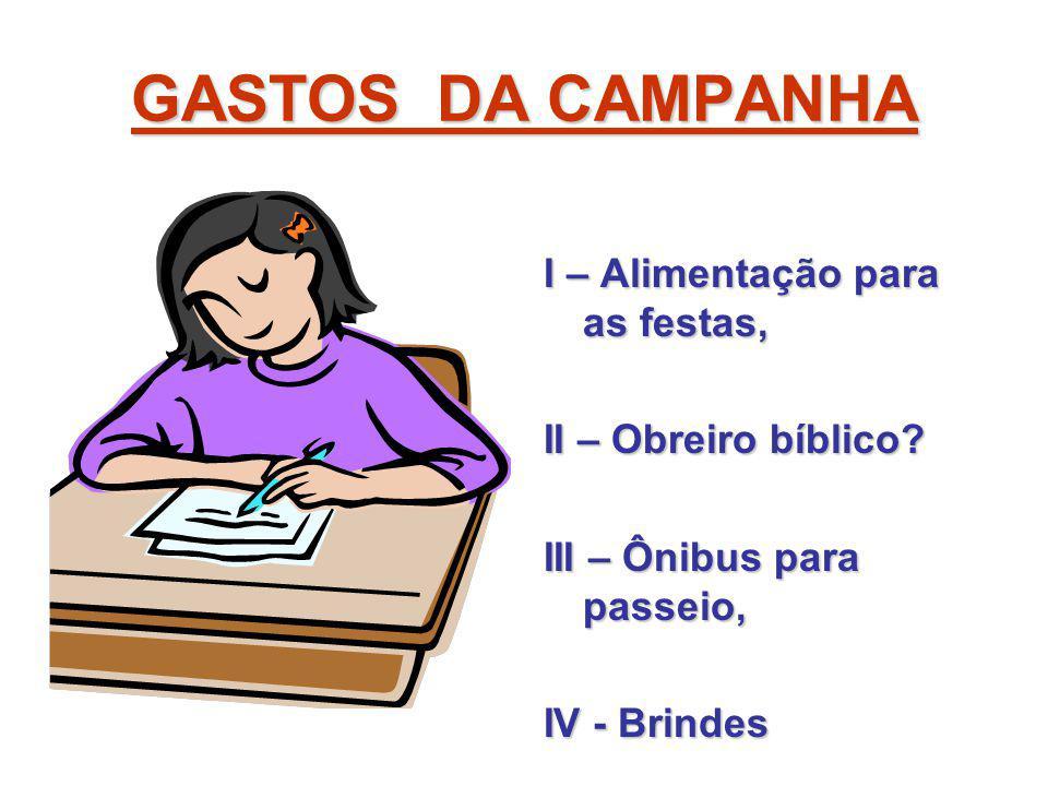 GASTOS DA CAMPANHA I – Alimentação para as festas, II – Obreiro bíblico? III – Ônibus para passeio, IV - Brindes