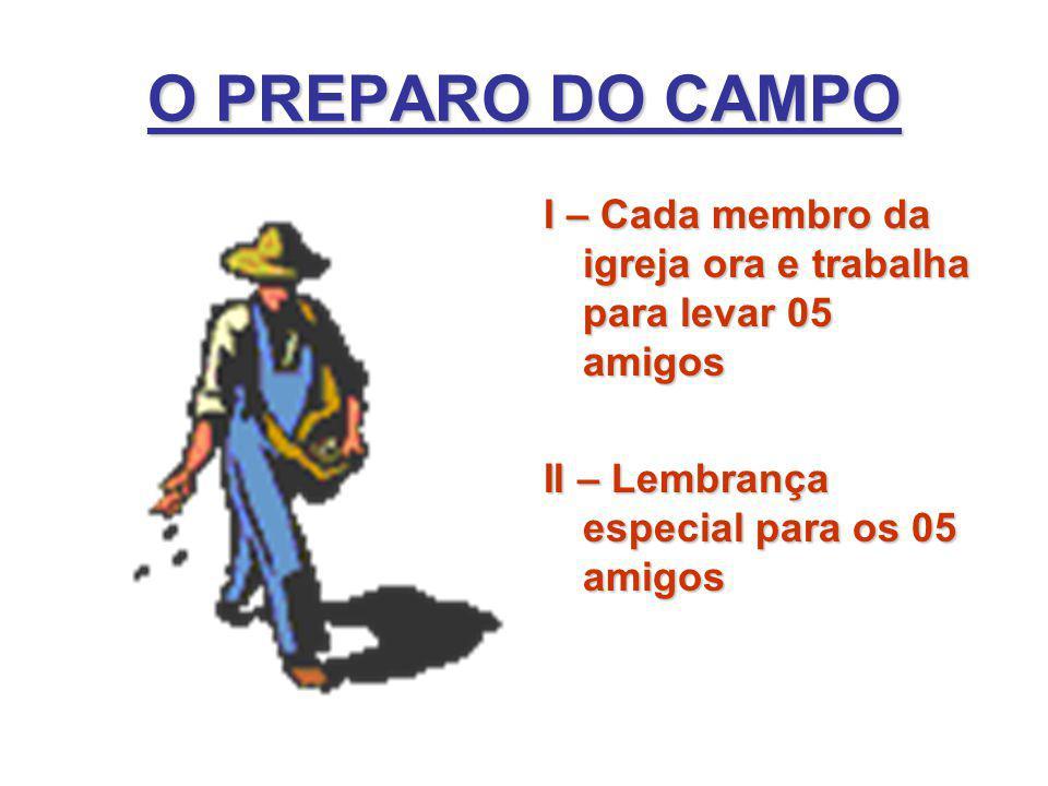 O PREPARO DO CAMPO I – Cada membro da igreja ora e trabalha para levar 05 amigos II – Lembrança especial para os 05 amigos