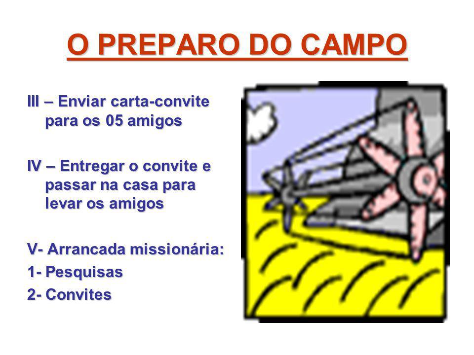 O PREPARO DO CAMPO III – Enviar carta-convite para os 05 amigos IV – Entregar o convite e passar na casa para levar os amigos V- Arrancada missionária