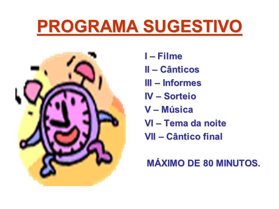 PROGRAMA SUGESTIVO I – Filme II – Cânticos III – Informes IV – Sorteio V – Música VI – Tema da noite VII – Cântico final MÁXIMO DE 80 MINUTOS.