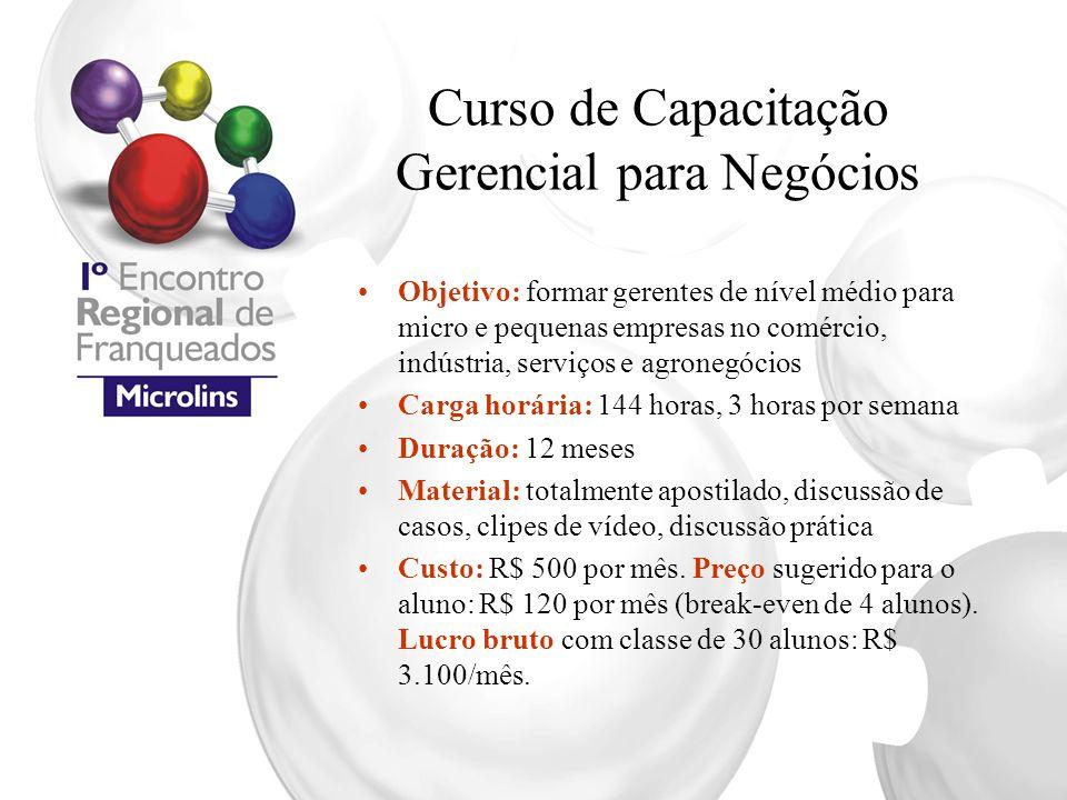 Curso de Capacitação Gerencial para Negócios Objetivo: formar gerentes de nível médio para micro e pequenas empresas no comércio, indústria, serviços