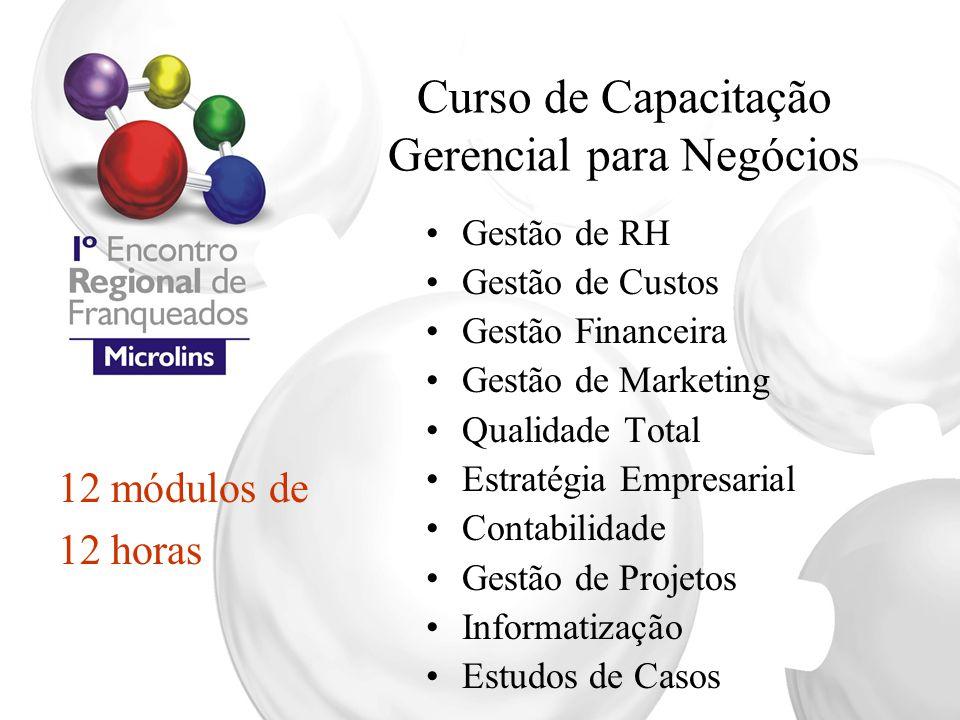 Curso de Capacitação Gerencial para Negócios Gestão de RH Gestão de Custos Gestão Financeira Gestão de Marketing Qualidade Total Estratégia Empresaria